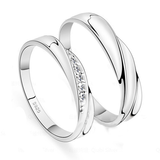 Custom Name 925 Sterling Silver Promise Rings Set for two